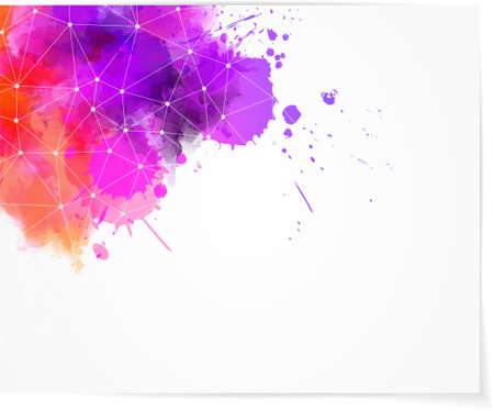 Background with multcolored watercolor splashes and abstract net design