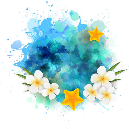 Summer background with starfishes and plumeria flowers on abstract watercolor splash
