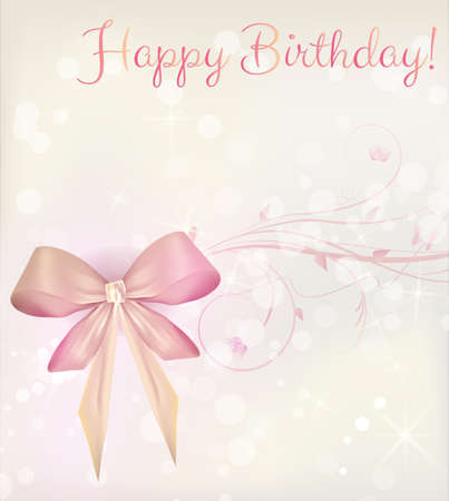 Shiny happy birthday background with ribbons and bow in light colors Vector