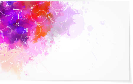 Abstract watercolor background with swirl floral elements Vector