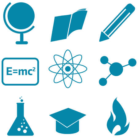 Set of blue education and science icons Vector