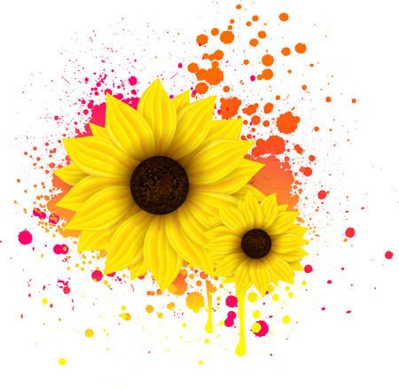 Two sunflowers on grunge splattered backround