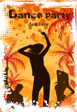 Orange grunge palm background with dancing people - party poster template Vector
