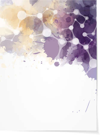 Background with multcolored watercolor splashes and abstract net design Vector
