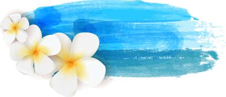 Plumeria flowers on blue watercolor imitation banner - summer illustration Illustration