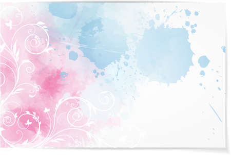 Abstract watercolor background in pink and blue colors with floral corner element Vector