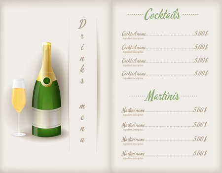 Drink menu template booklet with glass and bootle of champagne and cocktails list