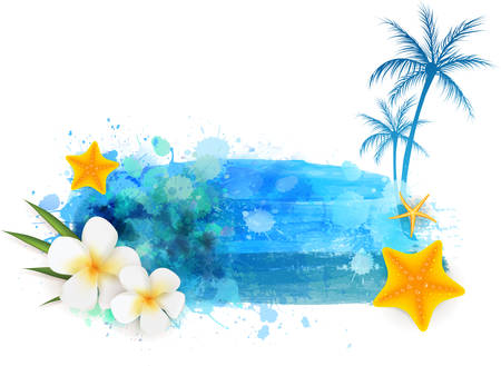 Summer background with starfishes,flowers and palm trees on abstract watercolor splash