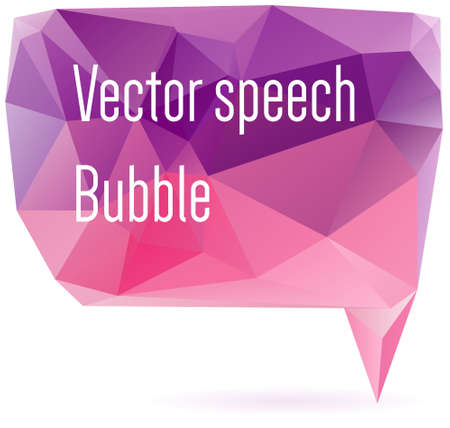 two dimensional shape: Abstract geometrical speech bubble in purple and pink colors - communication concept