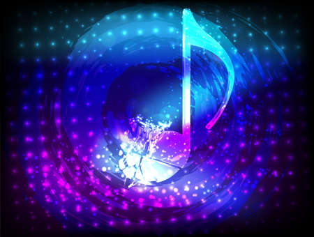 Shiny shattering note in circle on abstract glowing background  Vector