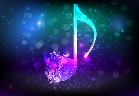 Shiny glass musical note shattered into pieces  Abstract music background
