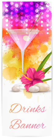 Vertical banner with pink martini and decoration of hibiscus flower and pebble stones - relaxation vacation background Ilustração