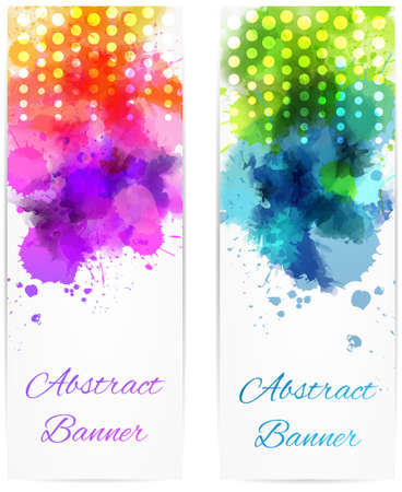 Vertical two banners with abstract color splashes and modern dots design Vector