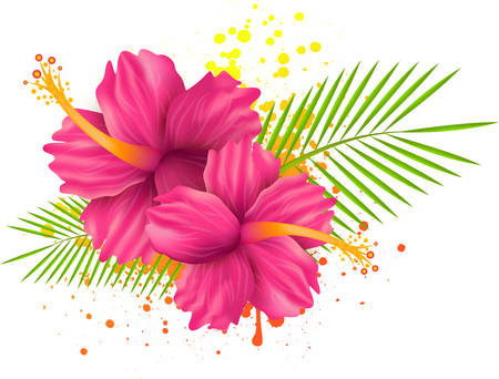 Two pink hibiscus flowers and palm leaves on grunge splattered backround