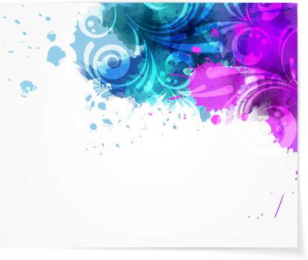 Background with abstract color splashes and modern swirly floral design