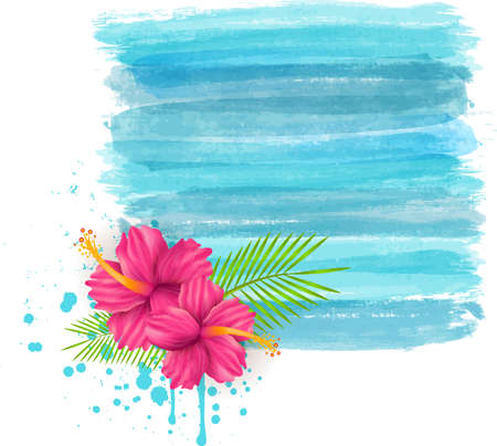 Hibiscus flowers on grunge blue watercolor imitation background - summer illustration Vector