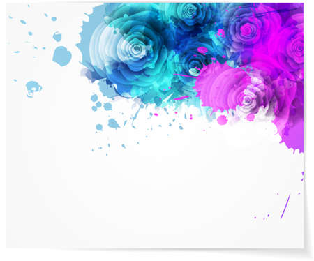 Abstract watercolor background in purple and blue colors with roses