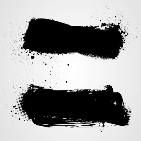 paint drip: Set of two black grunge banners for your design