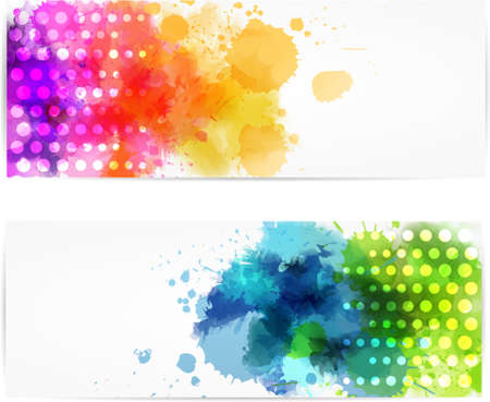 vivid colors: Set of two horizontal banners with abstract color splashes and modern dots design Illustration