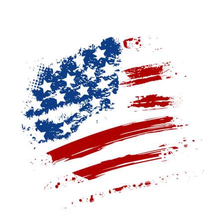 Grunge American USA flag - splattered star and stripes Vector