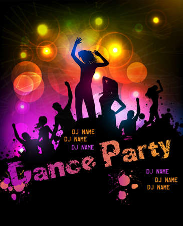 Poster template for disco party with silhouettes of dancing people and grunge elements Stock Vector - 30028915