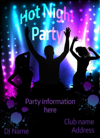 Poster template for disco party with silhouettes of dancing people and grunge elements Stock Vector - 30028919