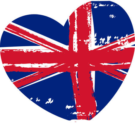 Grunge flag of the United Kingdom in heart shape Stock Vector - 30028941