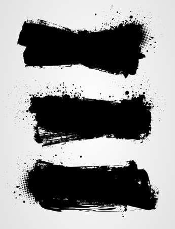 graffiti: Conjunto de tres banderas del grunge negro para su diseño