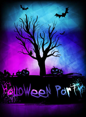 Template for Halloweeen poster party with spooky tree and pumpkins on glowing background Vector