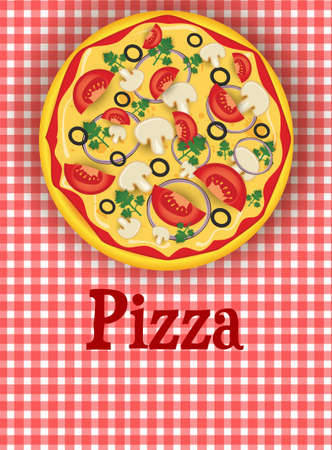 Red plaid background template with pizza Vector