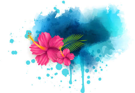 Abstract summer background with hibiscus flowers on colorful watercolor splash
