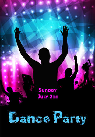 celebration party: Poster template for disco party with silhouettes of dancing people and grunge elements Illustration