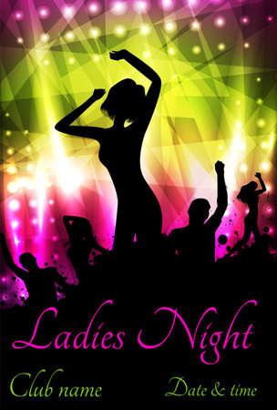 Plantilla del cartel para la fiesta de discoteca con siluetas de personas bailando y elementos grunge