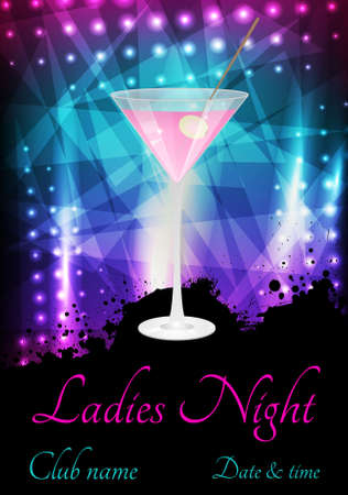 Ladies night or party poster template with glass of pink martini Ilustração