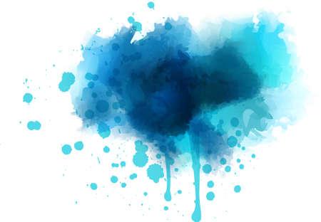 Blue watercolor splash - template for your designs Illustration