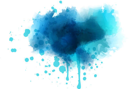 Blue watercolor splash - template for your designs Ilustração