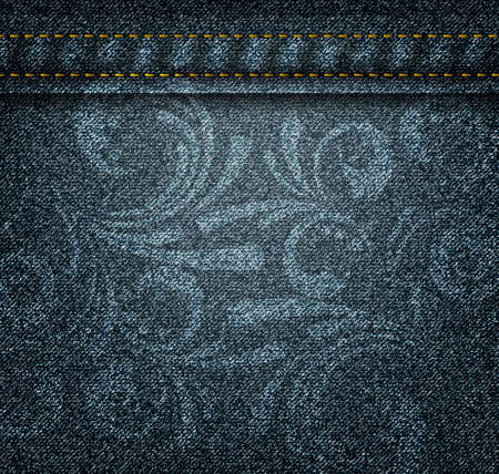 woven label: Texture of dark jeans with floral swirly print Illustration