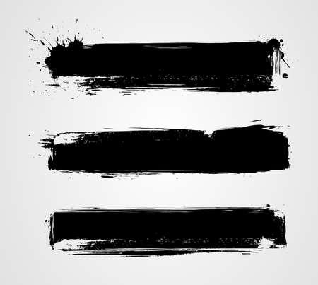 Set di tre bandiere grunge nero per la progettazione Archivio Fotografico - 31360193