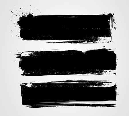 paint brush: Set of three black grunge banners for your design