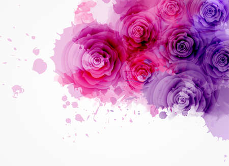 Abstract watercolor background in purple and pink colors with roses