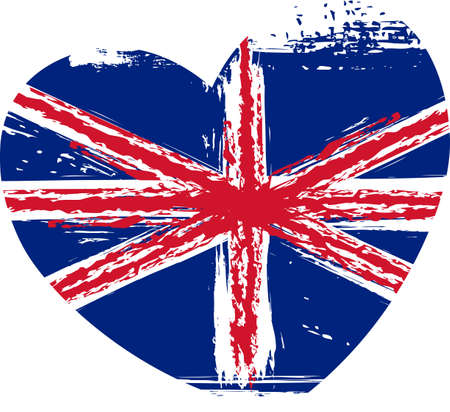 Grunge flag of the United Kingdom in heart shape Vector