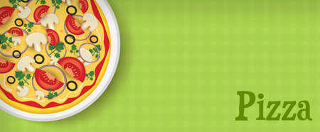 horizontal banner: Banner template green background with pizza Illustration