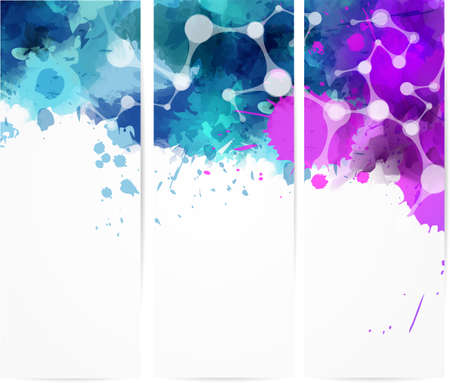 Set of three abstract banner with modern net design and watercolor splashes Vector