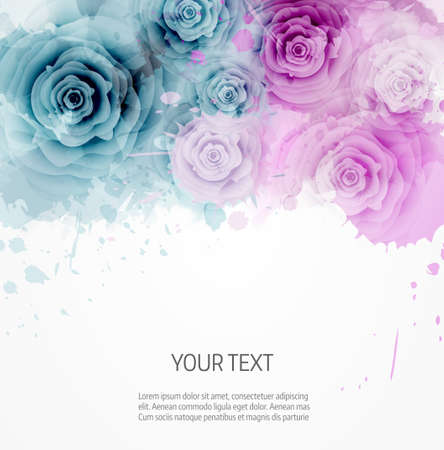 Abstract watercolor background in pink and blue colors with roses Vectores