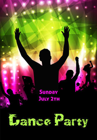 Poster template for disco party with silhouettes of dancing people and grunge elements Иллюстрация