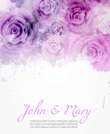 Wedding invitation template with abstract roses on watercolor background