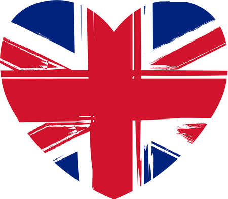 Grunge flag of the United Kingdom in heart shape