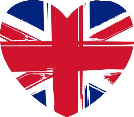 Grunge flag of the United Kingdom in heart shape