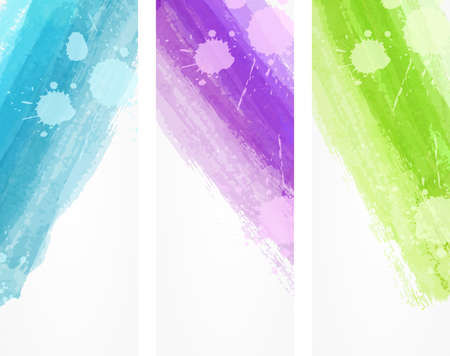Banner vertical templates with watercolor imitation lines
