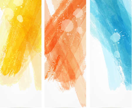 coloured background: Banner vertical templates with watercolor imitation lines